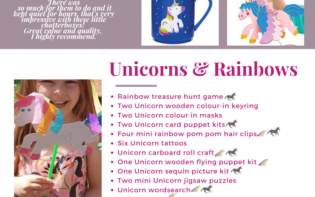 Unicorns & Rainbows children's Activity Pack